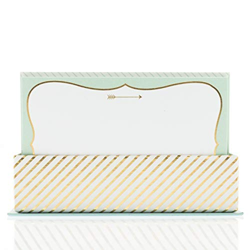 Graphique Mint and Gold Flat Notes – Note Card Stationery with Stylish, Soft Teal Border and Printed Gold Arrow, 50 Note Cards and Matching Envelopes for Thank You Notes, Invitations, Gifts and More, 5.625' x 3.5'