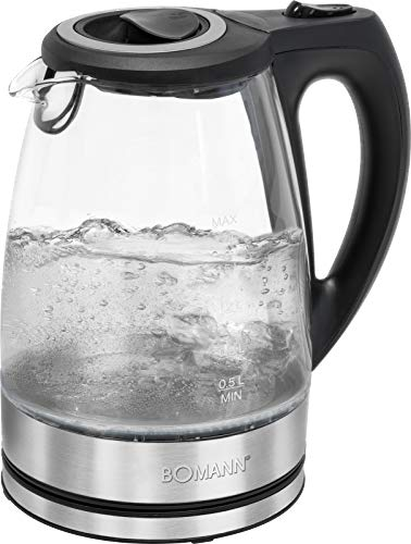 Bomann Glas-Wasserkocher WKS 6032 G CB, 1,7 Liter Füllmenge, Glas-/Edelstahlgehäuse, kabellose Technik - leichtes Ein- und Ausgießen, verriegelter Sicherheitsklappdeckel, 360° drehbare Steckverbindung