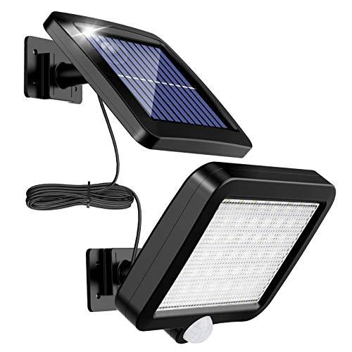 MPJ Lumière solaire extérieure avec détecteur de mouvement 56 LED, lumière solaire de jardin étanche IP65 à 120 ° avec câble de 5 m