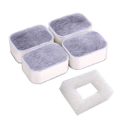 Fydun 1 Stücke Springbrunnen Filter Schaumfilter + 4 Stücke Premium Baumwolle Aktivkohlefilter Ersatz für Pet Trinkbrunnen