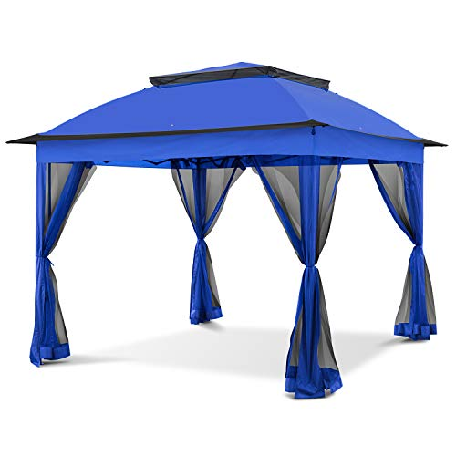 COOL Spot 11'x11' Pop-Up Gazebo Tent Instant with Mosquito Netting Outdoor Gazebo Canopy Shelter with 121 Square Feet of Shade (Blue)
