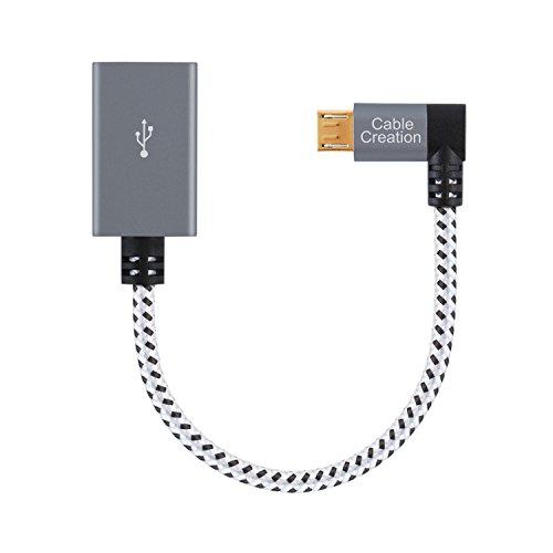 CableCreation Micro USB OTG Adapter Linkswinkliger Micro USB auf USB Adapter Stecker auf Buchse Kompatibel mit Smartphones mit OTG Funktion Flash Laufwerk MausTastatur Gamecontroller Aluminium