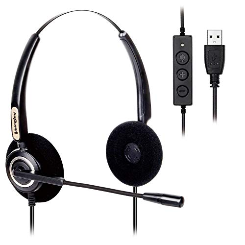 Corded USB Headset with Noise Cancelling Mic and in-line Controls, VoiceJoy Business Headset for Skype, SoftPhone, Call Center, Crystal Clear Chat, Super Lightweight, Ultra Comfort