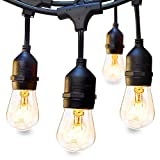Classyke 48FT Outdoor String Lights for Patio Garden Yard Deck Cafe Dimmable Waterproof Commercial Grade 16 Incandescent Bulbs (1 Spare)