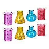 Relaxdays Shotgläser Chemie, lustige Schnapsgläser im 8er Set, 4cl, originelles Laborglas Design, Kunststoff, mehrfarbig