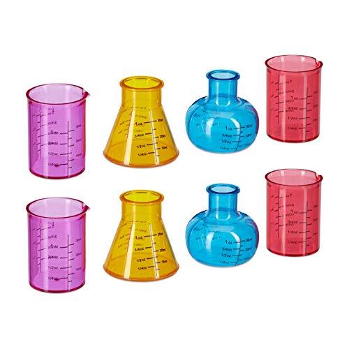 Relaxdays Vasos Chupito Química, Pack de 8, Matraz Laboratorio, Volumen 4 cl, Diseño Científico, Plástico, Multicolor