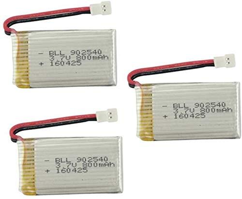 ZYGY 3PCS 3.7V 800mAh Lipo Batterie für...