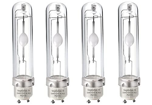 Vegelumax315W 3K-R CMH Grow Light Bulb Full Spectrum 3000K Ceramic Metal Halide Grow Lamp High Efficiency Low Heat Superior Master Color CDM for Flowering, Enhanced 660nm Red Light,4Pack