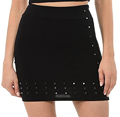 L I V D Made in USA - Women's Contemporary Embellished Ponte Mini Sexy Studded Skirt