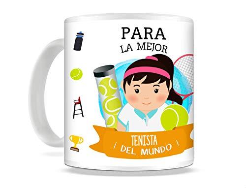 REGALOS ESTRELLA AZUL Taza de Desayuno Original para Regalar al Mejor Deportista Taza con Frases y Mensajes Divertidos y alegres Deporte, Regalo Tenis (Tenista (Ella))