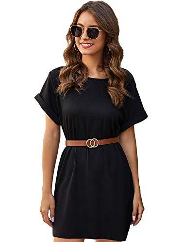 DIDK Damen T-Shirt Kleider Basic Shortkleid Rundhals Freizeitkleider Casual Sommerkleid ohne Gürtel Kurzarm Tunika Kleid Locker Minikleid...