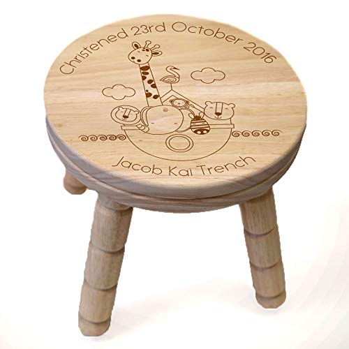 Personalised Noah's Ark Engraved Wood Stool, Christening Gifts for Girls & Boys