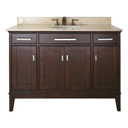 Big Sale Madison Vanity with Marble Top in Light Espresso Finish, 48-Inch