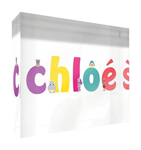 Little Helper Souvenir Décoratif en Acrylique Transparent Poli comme Diamant Style Illustratif Coloré avec le Nom de Jeune Fille Chloé 10,5 x 15 x 2 cm Grand