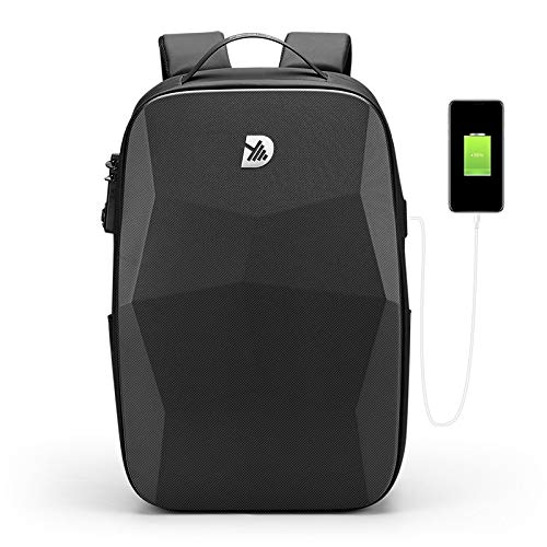 "Drastyc Hard Shell Series Polyhedron Carry on Molded Cool Backpack for Men Business Office College Overnight Travel Gaming Waterproof USB Customs Lock Anti Theft 17.3"" Laptop 36L 2.86 lbs DEEP BLACK"