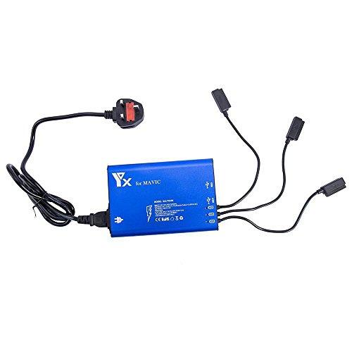 Yangers DJI Mavic Pro Platinum Ladegerät 5 in 1 Intelligente Multi Batterie Schnell Gleichgewicht für 3 Batterien Aufladen & Fernbedienung Transmitter, USB-Anschluss zum Aufladen des Smartphones