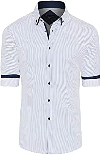 Tarocash Men's Miles Slim Stripe Shirt Cotton Blend Slim Fit Long Sleeve Sizes XS-5XL for Going Out Smart Occasionwear