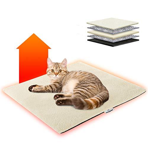 Focuspet Wärmedecke Katze, 60x45cm Katzendecke waschbar umweltfreundliche und selbstheizende Decke für Katzen, Hunde usw. Haustiere, Wärmematte Katze mit Anti-Rutsch Design, weiß