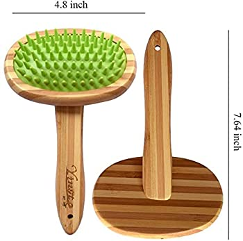 GingerUP Brosse de Bain pour Chien, shampooing pour Animaux de Compagnie - Manche en Bois Massif - Brosse de toilettage en Caoutchouc Brosse de Massage en Caoutchouc pour Animaux de Compagnie