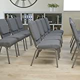Flash Furniture HERCULES Series 21''W Stacking Church Chair in Gray Fabric - Silver...