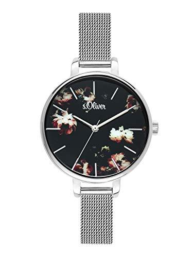 s.Oliver Time Damen Analog Quarz Uhr mit Edelstahl Armband SO-3591-MQ