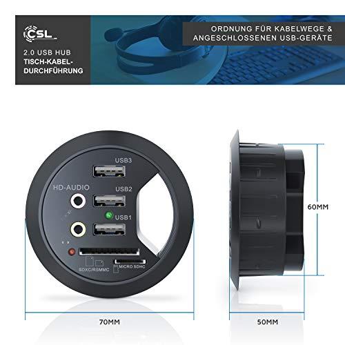 CSL - USB Tisch-Hub In-Desk-Hub - Tisch-Kabeldurchführung mit Multi-Cardreader Tischkabeldose - USB Hub 2X Audioanschluss - 3X USB 2.0 1x microSD 1x SDXC RSMMC