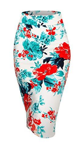 Made By Johnny MBJ WB2121 Women's Elastic Waist Stretch Bodycon Midi Pencil Skirt XXL Ivory_RED