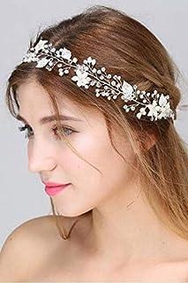 FXmimior - Fascia per capelli da sposa, con fiore bianco, accessorio per capelli, accessorio per capelli da donna, tiara d...