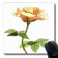長方形の快適滑り止めマウスパッド絵画水彩黄色花ローズAquarell自然アート長方形形状7.9×9.5インチ滑り止めラバー快適滑り止めマウスパッドゲーミング快適滑り止めマウスパッド