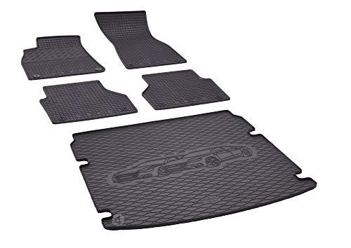 Kofferraumwanne und Gummifußmatten passgenau geeignet für Audi A6 Avant ab 2018 Farbe Schwarz + Gurtschoner