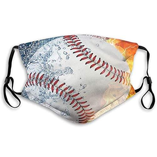 Lomelomme Baseball Mundmaske, Waschbare Lustig 3D Stoff Mundschutz Halstuch Mehrweg Atmungsaktive Multifunktionstuch, Mund und Nasenschutz (A)