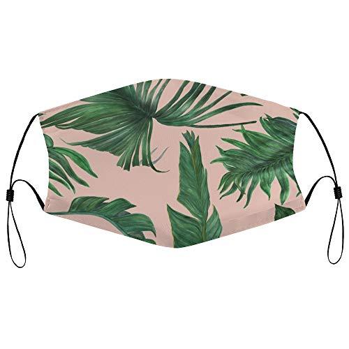 Dkisee Fashion Unisex Staubmaske mit Filterelement, verstellbare Ohrschlaufen-Gesichtsmaske, Outdoor-Schutzmaske (Aquarellmalerei mit Bananen und Palmenblättern)