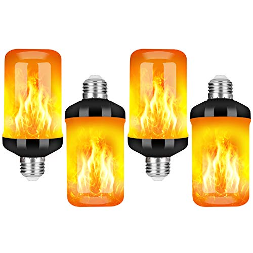 Y- STOP LED Flame Effect Fire Light Bulb, Upgraded 4 Modes Flickering Fire Christmas Decorations Lights, E26 Base Flame Bulb with Upside Down Effect (Black, 4 Pack)