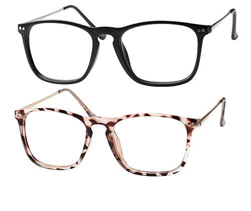 SOOLALA Designer Retro Stylish Large Horn Rimmed Glasses Frame Clear Lens Eyewear, BkTor, 2.5