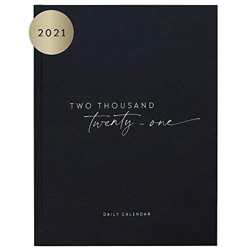 """JO & JUDY Tageskalender""""Schwarz & Weiß"""" - schwarzer Terminplaner 2021 - Kalender mit Hardcover, 24,5 cm x 18,5 cm x 2,7 cm"""