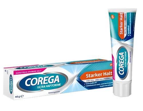 Corega Ultra Haftcreme Starker Halt für Zahnersatz/dritte Zähne, 1x40g