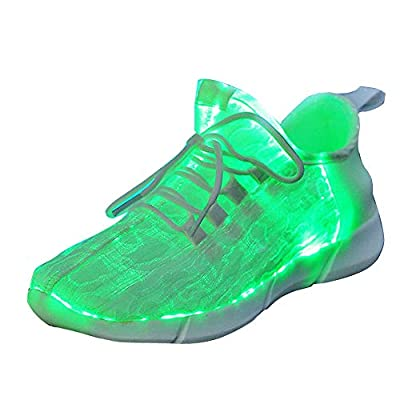 Gaorui Child Fiber Optic LED Shoes Light Up Shoes for Women Men Flashing Luminous Trainers for Festivals Christmas Party USB Charging Lightweight Fashion Sneaker for Boys Girls Black White