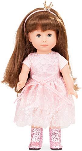 Götz 1713029 Just Like me - Prinzessin Chloe Puppe - 27 cm große Stehpuppe mit extra Langen braunen Haaren, blauen Schlafaugen in einem 5-teiligen Set