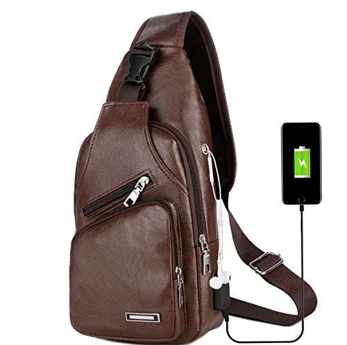 BeniUSB men's chest bag portable charging leisure messenger bag outdoor sports-Dark brown