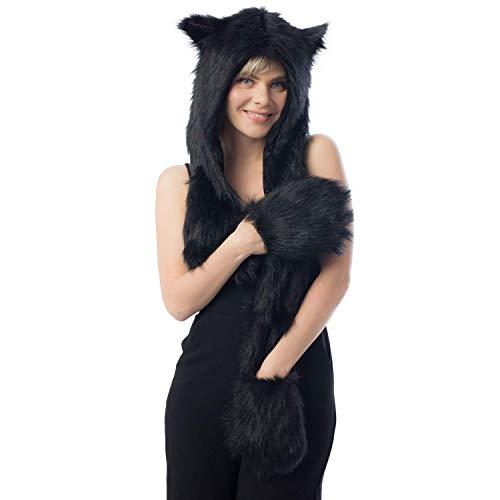 Black Cat Full Animal Hood Hoodie Hat Faux Fur 3 in 1 Function Paw Mittens Gloves