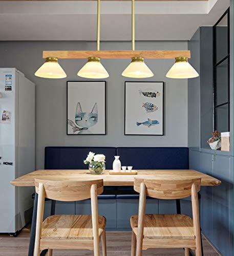 Lámpara de araña de madera con pantalla de cristal, moderna lámpara colgante para comedor o cocina, habitación de trabajo, E27, 4 focos, lámpara de cocina