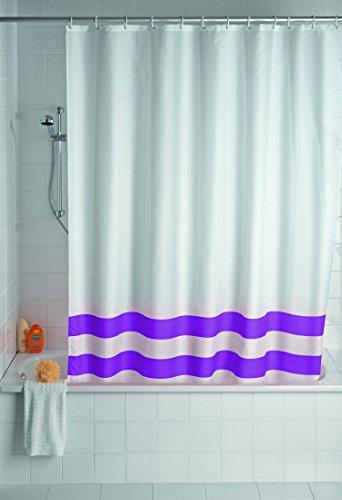 WENKO 19247100 Duschvorhang Tropic Purple - waschbar, mit 12 Duschvorhangringen, Kunststoff - Polyester, Weiß