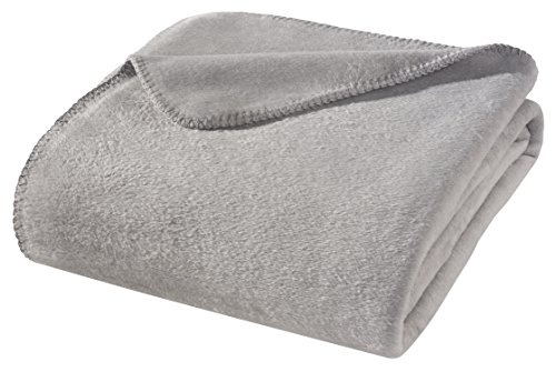 WOHNWOHL Kuscheldecke 150x200cm • weiche Tagesdecke • Sofadecke • Wohndecke • Schlafdecke • Ökotex Zertifizierte Baumwolldecke • Farbe: Hellgrau