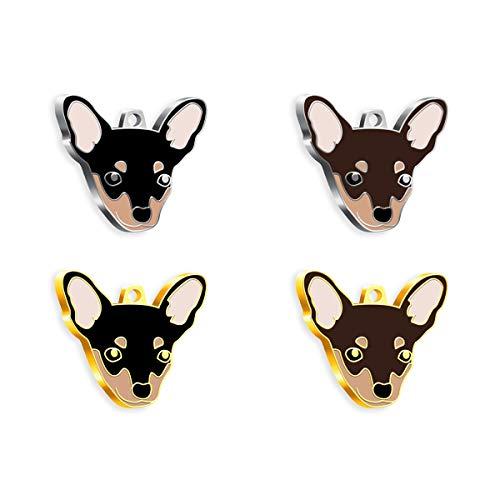 Pet Tag Art Pinscher Dog Etiqueta de Mascota Personalizada grabada, Etiqueta de Perro, Etiqueta de identificación de Mascota