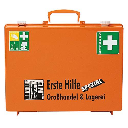 SÖHNGEN 0360127 Erste-Hilfe-Koffer Spezial Großhandel & Lagerei, Verbandskoffer mit Wandhalterung, orange, DIN 13157 aus Kunststoff, mit PRÜFPLAKETTE
