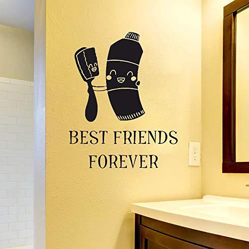 Tandpasta tandenborstel beste vriend citaat badkamer badkamer muursticker vinyl muurtattoo kinderkamer tandheelkundige kliniek