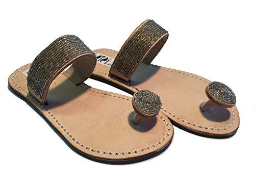SISI mbili Sandali Originali Kenya Modello Fascia Argento Collezione (40)