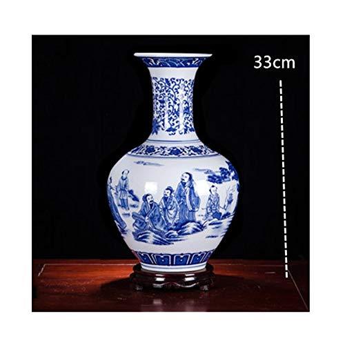 Scultura Antica Ceramica Cinese Vaso Arrangiamenti Ornamenti Soggiorno in Porcellana Bianca E Blu Decorazione per Cornice, Bottiglia di Ricompensa Statue