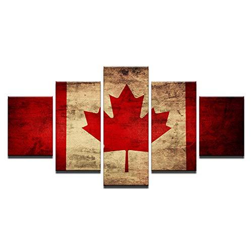 VGFGI 5 Stück kanadische Flagge Ahornblatt Bild HD Leinwand Kunst Gemälde für Wohnzimmer Wanddekoration