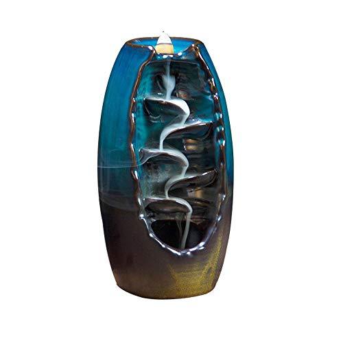 Quemador de incienso de reflujo, quemador de incienso de cerámica con 10 conos de incienso de reflujo